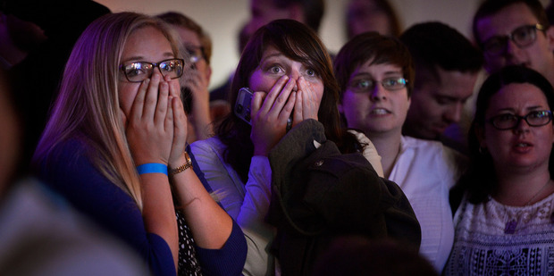 People react to the announcement that Republican presidential candidate Donald Trump has been elected President of the US. Photo / AP