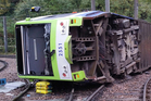 The tram derailed near the Sandilands stop in Croydon, London. Photo / Supplied