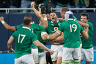Ireland celebrate 2nd-five Robbie Henshaw's try during the test match between the All Blacks and Ireland, held at Soldier Field, Chicago. PHOTO/FILE