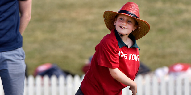 FOCUSED: Fergus Thamm of Whakamarama Primary School playing as Hong Kong at last year's Cricket Mini World Cup. PHOTO/FILE