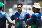 Umar Gul, left, and Waqar Younis of the Pakistan cricket team. Photo / Jason Oxenham