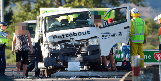 AFTERMATH: The Raftabout work van after the January crash at the Whakatane turn off near Rotorua. PHOTO/FILE.