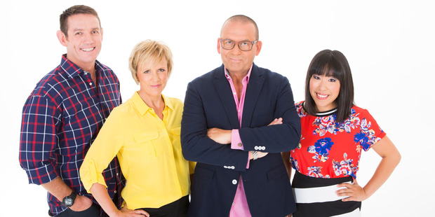 Members of the new Paul Henry Show: Jim Kayes, Hilary Barry, Paul Henry and Perlina Lau. Photo / Supplied