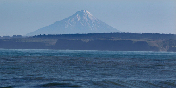 Mount Taranaki is barely visible from where Trans-Tasman Resources hopes to mine iron-sand in the South Taranaki Bight. PHOTO/ FILE