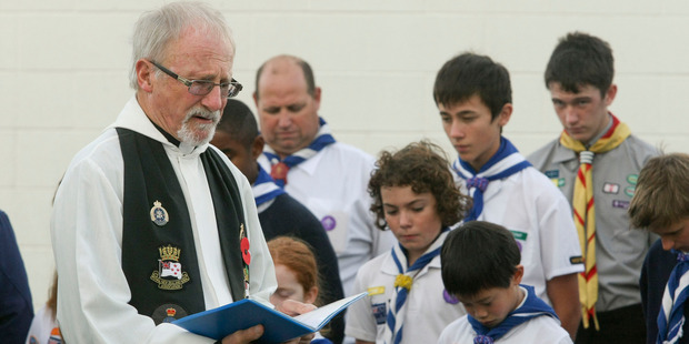 Father Bill Chapman at one of the recent Anzac Day services he has been involved with through his many years of service to the church, and community. Photo / Warren Buckland