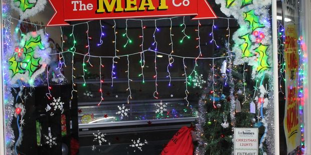 The Meat Company on Dannevirke's High St, lit up for Christmas last year.