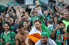 Ireland fans celebrate their team's 40-29 victory during the international match between Ireland and New Zealand. Photo / Getty Images