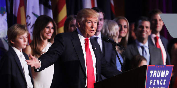 Donald Trump delivers his acceptance speech during his election night event. Photo / AP