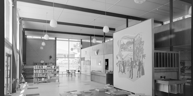 MISSING: Massey College of Creative Arts researchers are keen to find this mural by New Zealand artist E. Mervyn Taylor, which went missing from the Wairoa Centennial Library in 2001. Photo supplied
