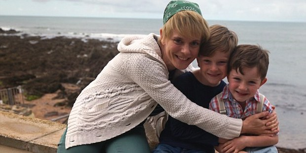 Loading Emilia Fox as Kate with brothers William and Matthew Stagg as Reef and Finn in new movie Mum's List. Photo / Supplied