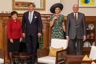 Governor-General Dame Patsy Reddy with King Willem-Alexander and Queen Maxima of the Netherlands at Government House. On the right is Sir David Gascoigne, Dame Patsy's husband. Photo / Pool