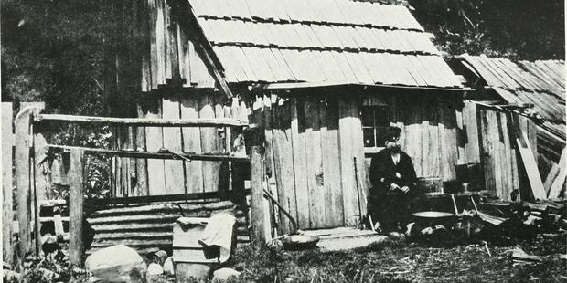 An image of the old West Coast shows a mining cottage near Ross in the early 1900s. A new book is casting doubt on the West Coast's first payable gold discovery. Photo / Wikimidia