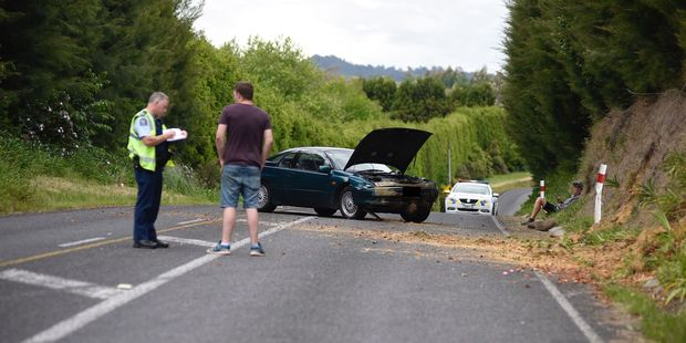 Loading A road is blocked after a crash in Welcome Bay. Photo/George Novak