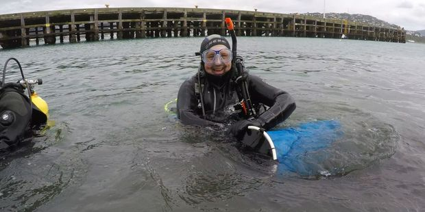 Divers at the Miramar Wharf clean up spent the day clearing rubbish out of the sea last month. Photo/Supplied