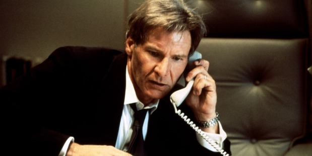 Harrison Ford in a scene from Air Force One.