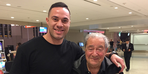 Loading American boxing promoter Bob Arum with heavyweight boxer Joseph Parker. Photo / Supplied