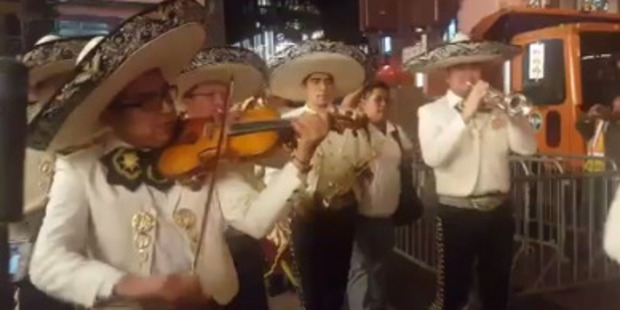 Mariachi band Mariachi Sol Mixteco playing on the street near Trump Tower. Photo / Twitter