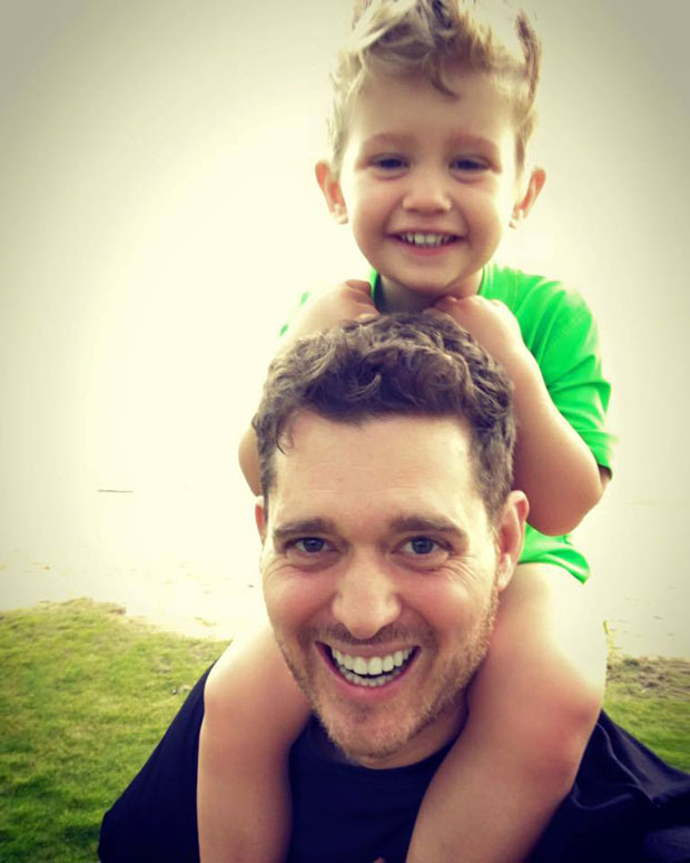 Michael buble and his young son Noah who has been diagnosed with Liver Cancer. Photo / Facebook