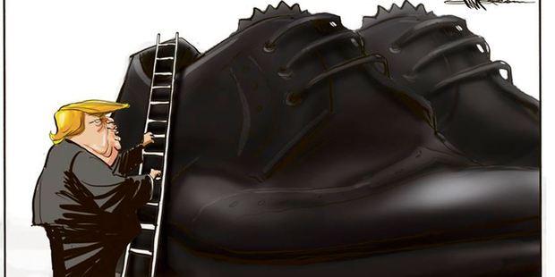 Donald Trump filling Obama's Shoes. Illustration / Rod Emmerson
