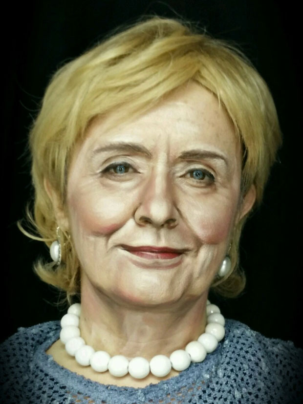 Make-up artist Pittalis Lucia Angela as Hilary Clinton.