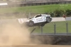 Footage from Sky.   A driver in the Toyota 86 series has lost control and crashed spectacularly, with the car skidding on it's roof before rolling and flipping over a safety fence. Luckily the driver was unhurt, and no spectators were nearby.