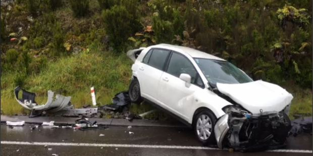 Loading A car and truck have collided on SH29, on the Kaimai Range. PHOTO/SONYA BATESON