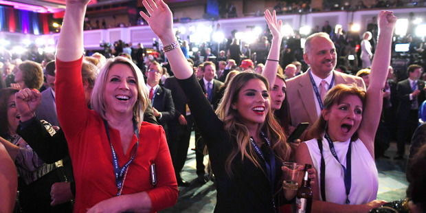 Cheers for Donald Trump inside an election-night event in New York City. Photo / The Washington Post
