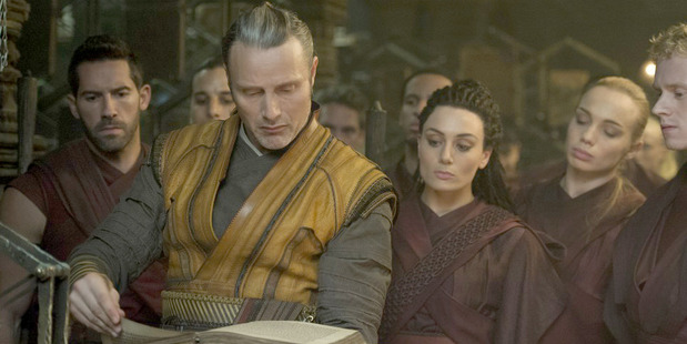 Loading Kaecilius (Mads Mikkelsen) and his Zealots take a page out of the Marvel playbook, in Doctor Strange. Photo / Jay Maidment, Marvel