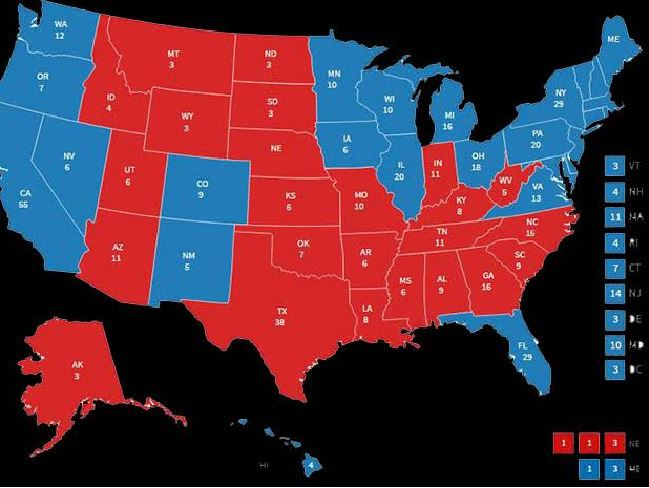 The electoral college map following Barack Obama's win in 2012. Photo / Fox News