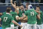Ireland celebrate second-five Robbie Henshaw's try against the All Blacks. Photo / Brett Phibbs