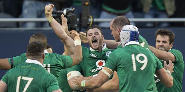 Loading Ireland celebrate second-five Robbie Henshaw's try against the All Blacks. Photo / Brett Phibbs