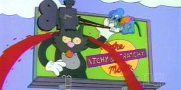 The Simpsons' billboard for The Itchy and Scratchy Movie.
