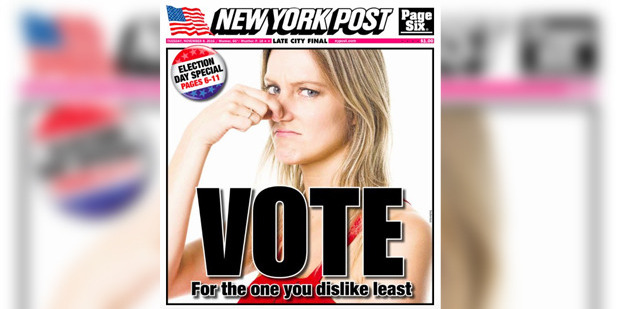 The Nov. 8 edition of the New York Post. Photo / New York Post