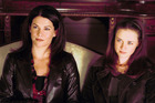 Lorelai and Rory in the first season of Gilmore Girls. In the show, Lorelai is a single mother who had Rory at age 16, which led to an estrangement from her wealthy parents.