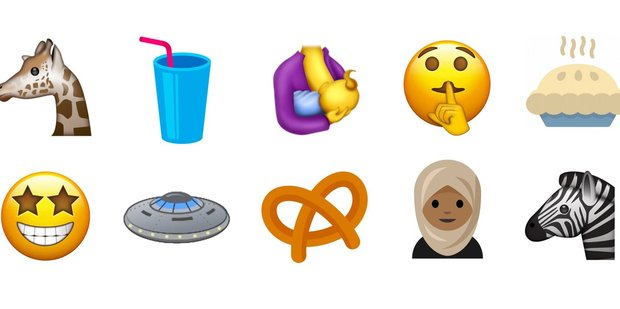 The emojis on offer include flying saucer and breastfeeding mother. Photo / Supplied
