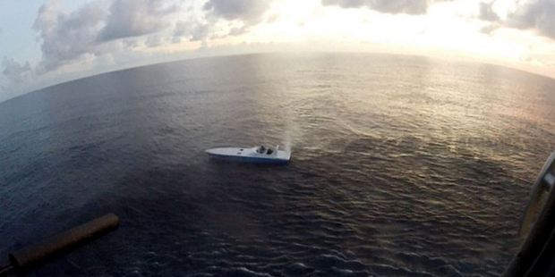 The five crew of the go-fast plus the haul of drugs were later transferred to the US Coast Guard. Photo / Supplied
