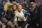 Beyonce, Chris Martin of Coldplay, and Bruno Mars perform during the Pepsi Halftime show at Super Bowl 50 at Levi's Stadium on February 7, 2016 in Santa Clara, California. <P> Pictured: Beyonc