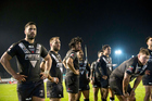 Kiwis players appear stunned after Scotland came back to claim an 18-18 draw at Workington today. Photo / Photosport.