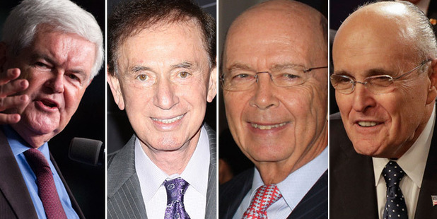 Loading (L-R) Newt Gingrich, 73; Forrest Lucas, 74; Wilbur Ross, 78; Rudy Giuliani, 72. Photos AP, Getty Images