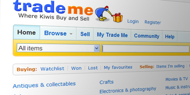 File photo of the Trade Me webpage.