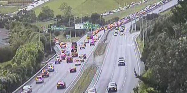 A crash is blocking two lanes city-bound on the Northern Motorway prior to the Greville off-ramp. Photo / NZTA