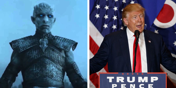 If Trump's the new Night's King then winter is coming...in January. Photos / HBO, AP