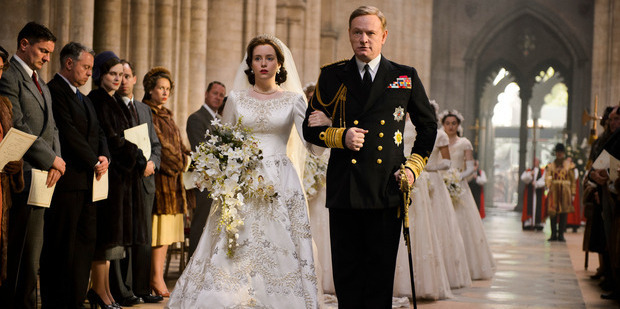 Claire Foy as Queen Elizabeth II and Jared Harris as King George VI in The Crown. Photo / Netflix