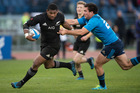 All Blacks winger Waisake Naholo on his way to score during the test match between the All Blacks and Italy. Photo / Brett Phibbs