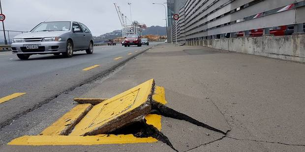 Loading Damage to the ground outside Westpac Stadium on the Wellington seafront. Photo / via Facebook
