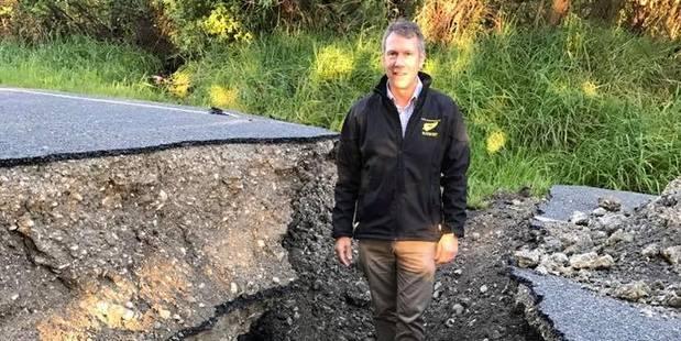 Loading Stuart Smith surveys the damage on the road to Kaikoura. Photo / Supplied