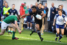 Julian Savea makes a break down the sideline against Ireland at  Soldier Field in Chicago. Photo / Photosport