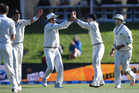 A calamitous tumble by Pakistan left New Zealand poised for a comfortable victory with two days remaining in their first test at Hagley Oval. Photo / Photosport