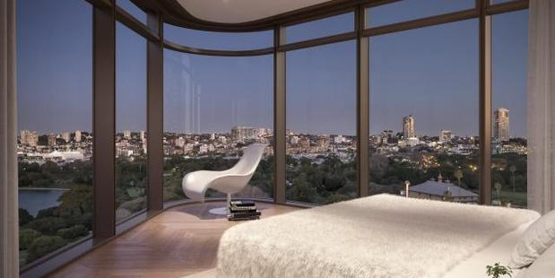 The bedroom in one of the other apartments in the Opera Residences development. Photo / Supplied