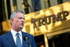 Bill de Blasio visited Donald Trump in the Manhattan Trump Tower where the President-elect is holed up assembling his cabinet.Picture / AP
